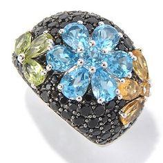 Gem Treasures Sterling Silver 5.00ctw Spinel & Multi Gemstone Flower Ring