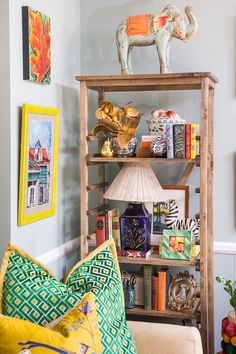Amanda Louise Interiors: Living Room Tour. Colorful, eclectic living room space filled with pattern play, collections and art.