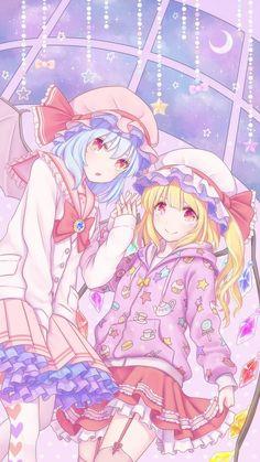 Touhou - Remilia Scarlet and Flandre Scarlet Loli Kawaii, Kawaii Anime Girl, Anime Art Girl, Moe Anime, Anime Chibi, Manga Anime, Touhou Anime, Anime Friendship, Anime Songs