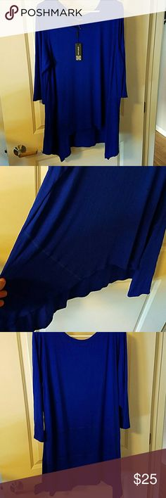 Nwt plus size shirt. Royal blue hi lo shirt with 3/4 sleeve. NWT. Flowy top perfect for leggings. Can be dressed up or down. Cable & Gauge Tops Tunics