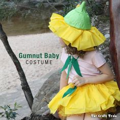 Easy DIY gumnut baby costume inspired by the characters dreamed up by Australian author May Gibbs. From Snugglepot and cuddlepie and Little Ragged Blossom.