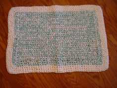 Hand Made Turquoise and White Crochet Rag Rug by GandTVintage