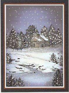 De Stempelwinkel - Designteam : Snowy Christmas night.