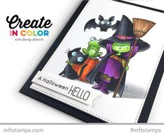 Handmade card from Sandy Allnock featuring Birdie Brown Witch Way Is the Candy? Halloween Drawings, Halloween Cards, Halloween Fun, Thanksgiving Cards, Holiday Cards, Sandy Allnock, Mft Stamps, Video Tutorials, Homemade Cards