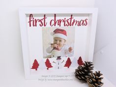 Baby's First Christmas photo frame – Stamp with Nellie Picture Frame Inspiration, Picture Frame Display, Family Picture Frames, Unique Picture Frames, Picture Frame Crafts, Cute Frames, Christmas Box Frames, Christmas Design, Christmas Ideas
