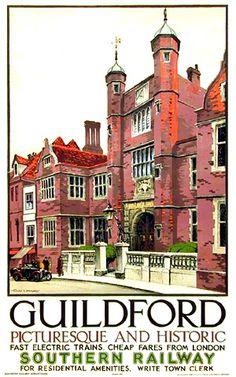 Vintage Railway Travel Poster - Guildford - UK.