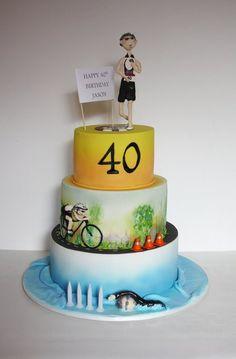 Triathlon Cake - Cake by Louisa 40th Cake, Dad Cake, My Birthday Cake, Fondant Man, Fondant Cakes, Cakes For Men, Cakes And More, Triathlon Ironman, Martini Cake