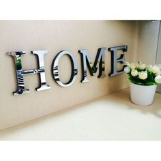 1pc Mirror Acrylic Wall Sticker 26 English Letters DIY Quote Affixed Decal Home Decor 10*8*1cm 3D Alphabet Wedding #15 #Affiliate