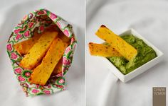 Skinny Girls Healthy Baked Polenta Chips with Chilli Salsa Verde...YUM!