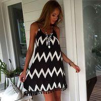 2015 del estilo del verano de la gasa del vestido ocasional moda mujer de  la correa f794913b965c