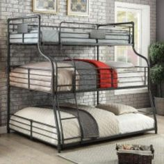 Shop for Furniture of America Wini Industrial Black Queen over Queen Bunk Bed. Get free delivery On EVERYTHING* Overstock - Your Online Furniture Outlet Store! Bunk Beds Small Room, Modern Bunk Beds, Full Bunk Beds, Bunk Beds With Stairs, Kids Bunk Beds, Small Rooms, Bed Rails, Triple Bed, Queen Bunk Beds