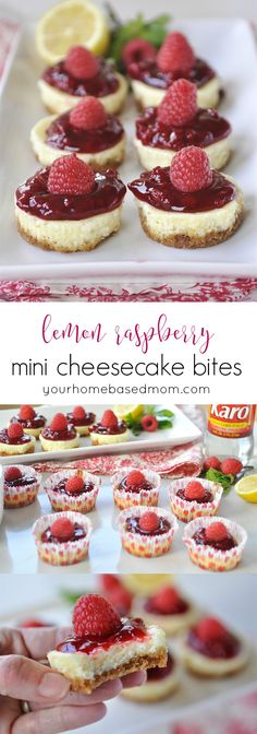 Lemon Raspberry Mini Cheesecake Bites