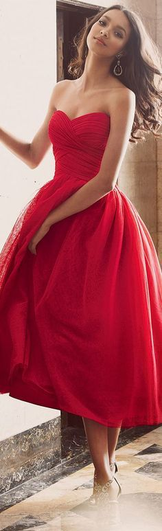 "Look amazing for your romantic night out on Valentine's Day. A gorgeous red dress like this and Hair2wear's 16"" extensions will help you get the perfect style."