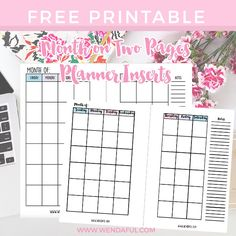 A variety of free printable month on two pages planner inserts for pocket, personal and A5 sized planners. Undated monthly inserts are perfect for everyone.