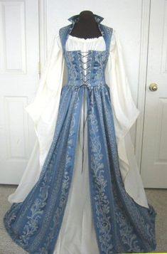 Pale Blue and pale Gold Renaissance dress over gown by desree10