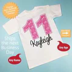 Eleventh Birthday Shirt Pink 11 By ThingsVerySpecial 11th Girl Shirts