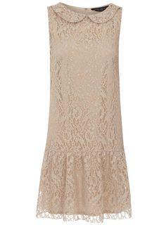 Dorothy Perkins Light mocha lace drop waist dress