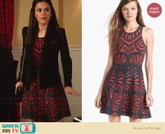 Zoe's red and black patterned dress on Hart of Dixie.  Outfit Details: http://wornontv.net/30441/ #HartofDixie