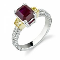 Ruby & Diamond Engagement Ring Set in White Gold With Yellow Gold Accents