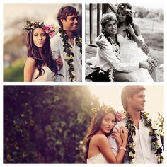 Our Boho Chic Maui Wedding -on Style Me Pretty! - Weddingbee #floralcrown #haku lei #maile lei
