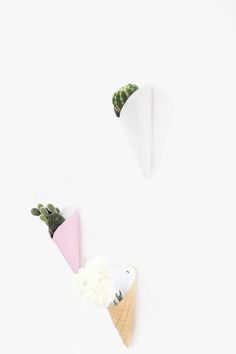 » DIY Ice Cream Cone Wall Planters