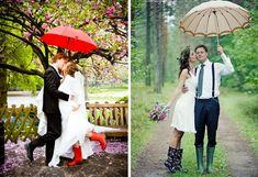 Свадебная осенняя фотосессия в резиновых сапогах
