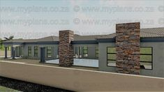 4 Bedroom House Plan - My Building Plans South Africa 4 Bedroom House Plans, Family House Plans, My Building, Building Plans, Beautiful House Plans, Beautiful Homes, Single Storey House Plans, House Plans South Africa, Front Yard Garden Design