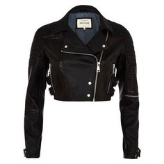 River Island Black croc panel cropped biker jacket ❤ liked on Polyvore featuring outerwear, jackets, river island jackets, motorcycle jacket, silver crop jacket, cropped moto jacket and cropped jackets