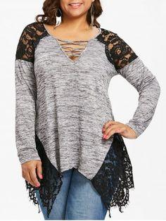 24ea7701056 Plus Size Women V Neck Tee Long Sleeve Lace Trim Casual T-shirt Tunic Blouse