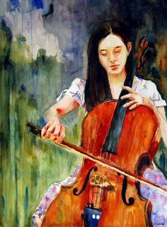 A young woman focuses on the cello in the spring light of her garden. This watercolor portrait painting is available as a fine art print. portraits by Miriam Schulman also available on commission.