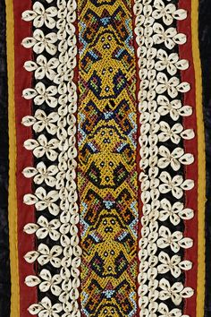 Maloh beaded skirt with Ancestors made with trade cloth, late 19th/early 20th C, 21 x 18 in