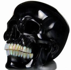 Black Obsidian Skull with Opal teeth - too bad open is not the strongest of gems. Memento Mori, Crystals And Gemstones, Stones And Crystals, Septarian Stone, Estilo Dark, Crystal Skull, Pentacle, Skull And Bones, Skull Art