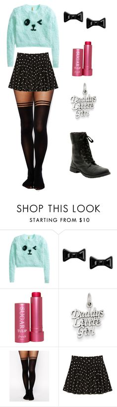 """Outfit #1"" by the-girl-who-breaks-toys ❤ liked on Polyvore featuring H&M, Marc by Marc Jacobs, Fresh, Kevin Jewelers, ASOS, Forever 21, little, kawaii, daddy and ddlg"