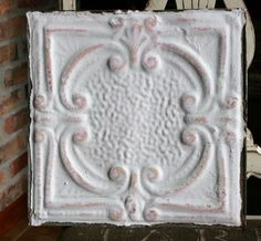 "12"" Antique Tin Ceiling Tile - White Paint with Pink Highlights - Pretty Design"