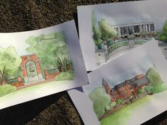 These Clemson University sketches capture many of the sights on campus. Each stands alone, or all can be grouped to create a series.  Each