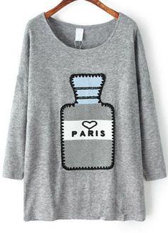 Grey Long Sleeve Perfume Bottle Print Sweater 25.00
