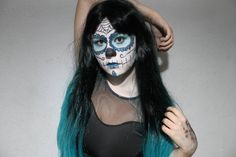 Halloween Makeup: Calavera Mexicana WIG: http://www.abhair.com/product/long-straight-fashion-ombre-lady-sexy-wigs-with-swept-bang #wig #abhair #cosplay #hairstyle #costumewig