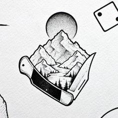 Pocket knife with landscape. Check out my last post to see the rest of the flash sheet.  #illustration #drawing #sketch #pen #sketchbook #landscape #dotwork #linework #stippling #pointilism #btattooing #blxckink #blackwork #bnw #iblackwork #tttism #blacktattoomag #blackandgrey #micronpen #darkartists #botanical #taot #flashsheet #art_collective  #art_helps #artstagram #worldofpencils