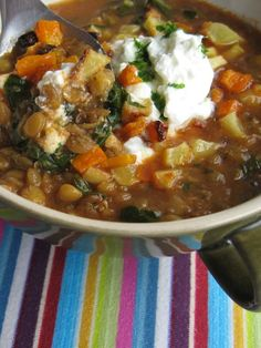 Creamy Lentil Soup with Grilled Vegetables.