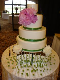 Peonies flower accents on wedding cake  with dazzle collection; Boca Pointe Country Club