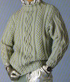 [Tricot] The Irish steel sweater - Knitting 01 Knit Sweater Outfit, Cable Knit Sweaters, Men Sweater, Aran Knitting Patterns, Hand Knitting, Filet Crochet, Knit Crochet, Knitwear, Boutique