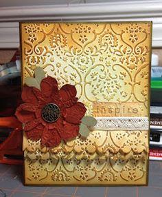 Gorgeous Embossed & Inked Flower Card...cuttlebug embossing folder & Tim Holtz ink.