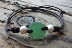 Scottish Sea Glass  and Pearl Surfers Bracelet by byNaturesDesign, $10.00