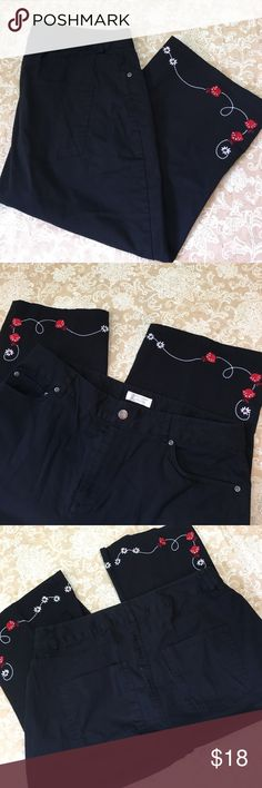 Christopher & Banks Black Lady Bug Capri Pants Super cute embroidered ladybug Capri pants. 98% cotton 2% spandex. Great condition. Size 12.  Waist measured flat 16 inches, rise 11 inches and inseam 18 inches.  PT155 Christopher & Banks Pants Capris