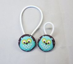 7/8 Size 36 Little Owls Fabric Covered Button Hair by RatDogInk, $6.00
