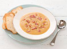 Split Pea, Bacon and Roasted Garlic Soup recipe - Countdown Recipes Soup Recipes, Cooking Recipes, Healthy Recipes, Easy Recipes, Healthy Food, Garlic Soup, Roasted Garlic, Pea And Ham Soup, Pea Soup