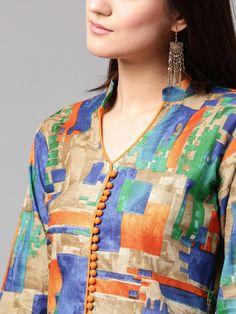 Buy AKS Women Multicoloured Printed A Line Kurta - Kurtas for Women 2111369 Kurtha Designs, Chudi Neck Designs, New Blouse Designs, Neck Designs For Suits, Neckline Designs, Designs For Dresses, Dress Neck Designs, Collar Designs, Mehndi Designs