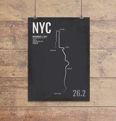 New York City Marathon Map Print - NYC Personalized for 2020 Nyc Marathon Map, Marathon Posters, New York Marathon, Gifts For Runners, Map Design, Graphic Design, Kids Prints, New York City, Poster