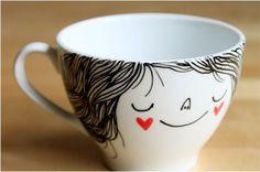 Tazas porcelana o ceramica con sharpie, 30 minutos 180ªC