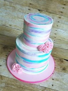 This past year, the naked cake has really become a huge hit. Bolo Tye Dye, Tye Dye Cake, 12th Birthday Cake, Blue Birthday Cakes, Pastel Cakes, Purple Cakes, Cupcakes, Cupcake Cakes, Multi Color Cake